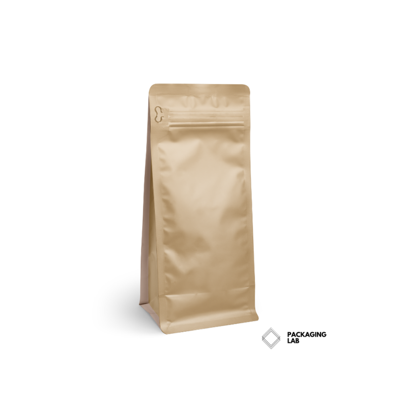 Brown Kraft Box bottom pouch with pocket zipper and valve