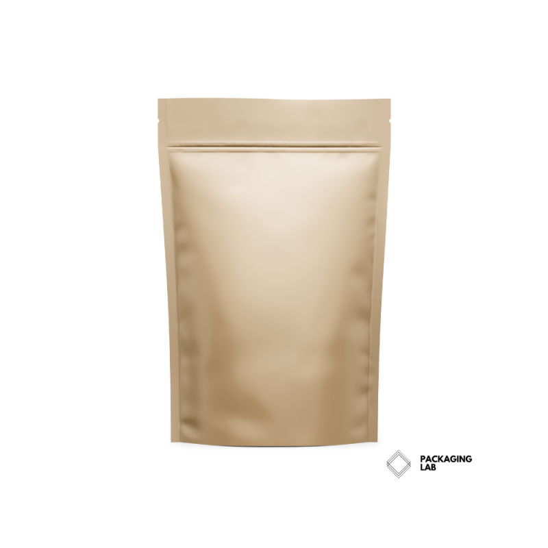 brown kraft stand up pouch with zipper